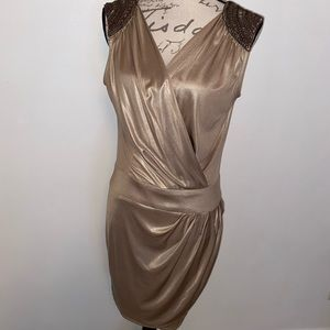 🍁Cache Metallic Crossover Dress